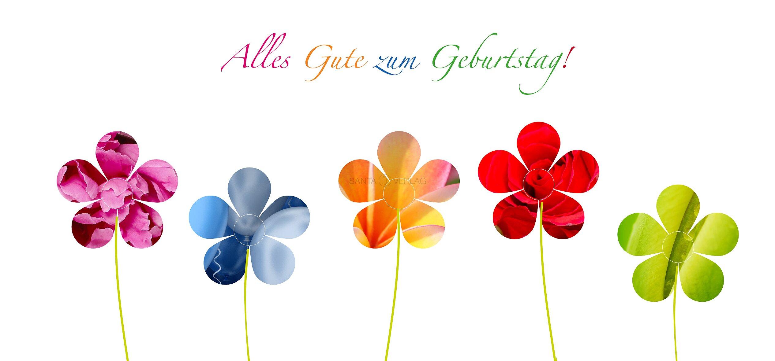 Gluckwunschkarte Blumen Bunt Alles Gute Zum Geburtstag